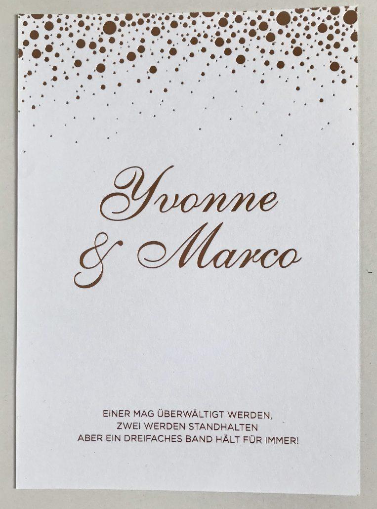 Hochzeitseinladung Heißfolienprägung
