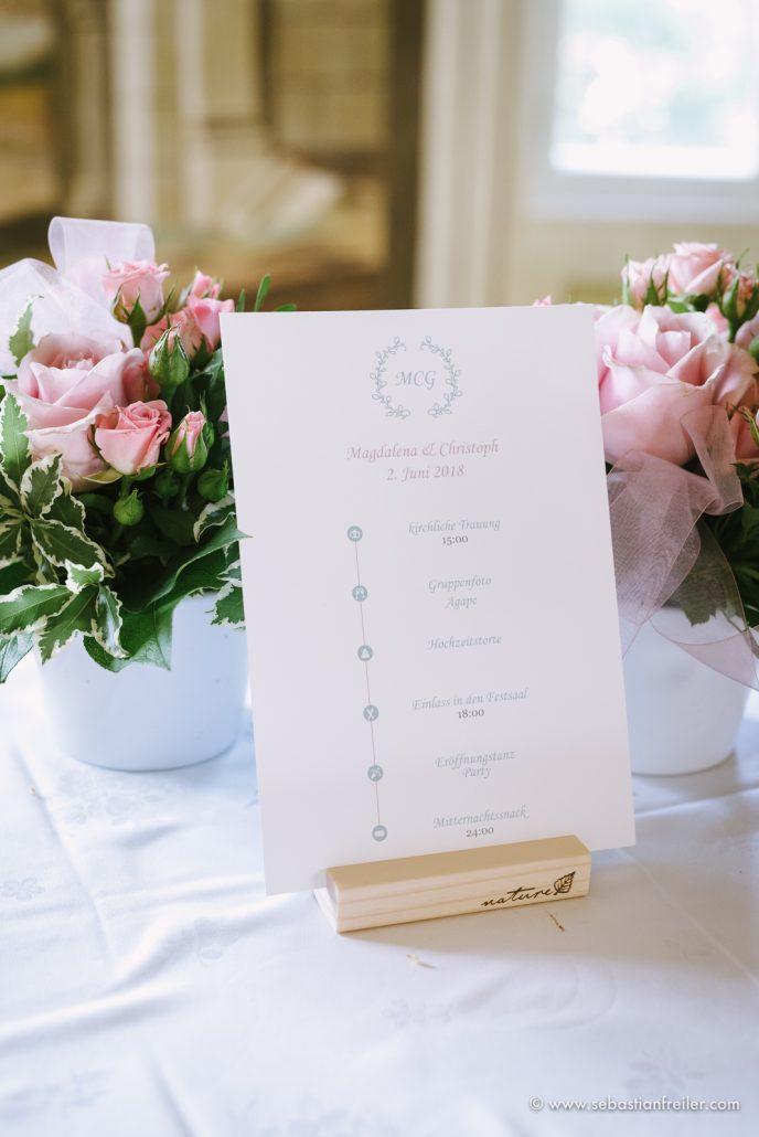 Ablaufplan für die Hochzeit