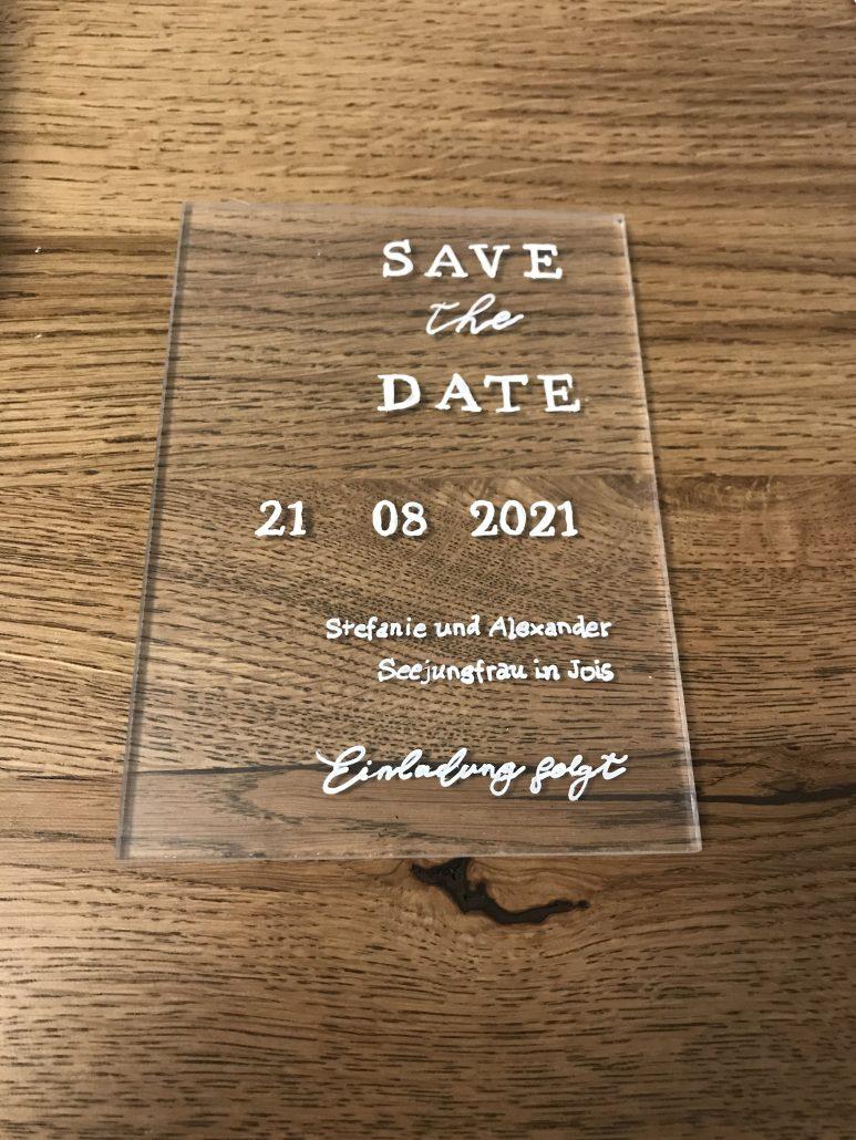 Acryl Save the Date Karte Hochzeit
